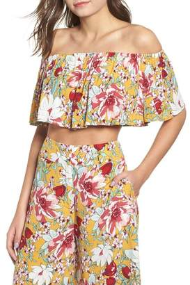 Leith Floral Ruffle Tube Top