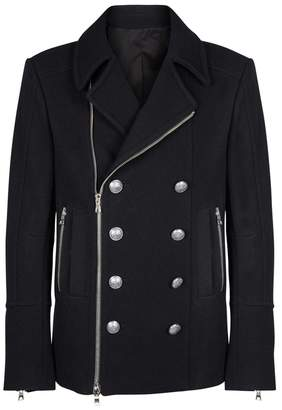 Balmain Navy Double-breasted Wool-blend Coat