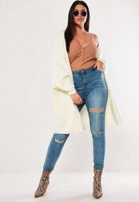 Missguided Plus Size Cream Batwing Long Oversized Knit Cardigan