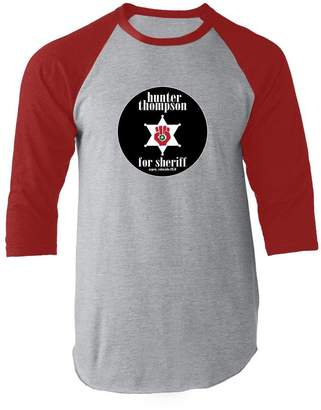 Hunter S. Thompson For Sheriff L Raglan Jersey T-Shirt by Pop Threads