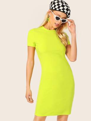 Shein Neon Yellow Form Fitted Dress