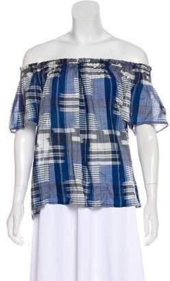 Ulla Johnson Short Sleeve Plaid Top