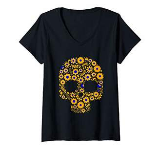 Womens Sugar Skull Calavera Gift for Mexican Decor Lovers V-Neck T-Shirt