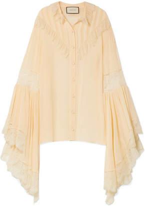 Gucci Oversized Lace-trimmed Silk-chiffon Blouse - Ecru