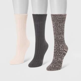 Muk Luks Women's 3pk Boot Socks - One Size