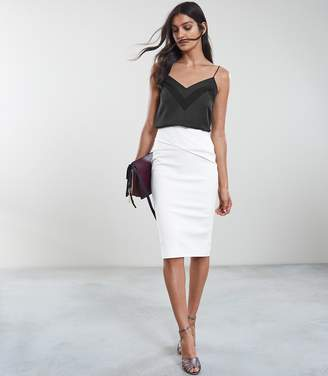 Reiss ICIA PLEAT FRONT JERSEY PENCIL SKIRT Off White