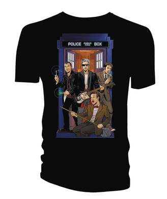Doctor Who Mens 4 Doctors Band T-Shirt