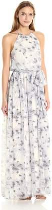 Donna Morgan Women's Alana Floral Halter Gown