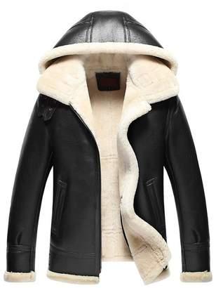 LINAILIN Mens Fur Coat Men's Shearling Jacket Hood Coat B3 Flight Casual Jacket (XXXL, )