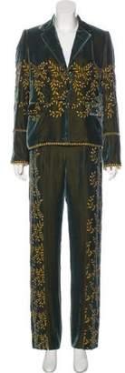Richard Nicoll Velvet Embroidered Pantsuit