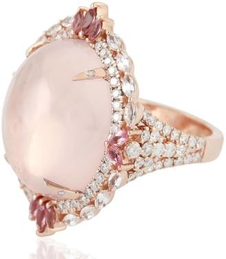 Artisan 18Kt Solid Rose Gold Diamond Quartz Sapphire & Tourmaline Diamond Ring