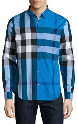 Burberry Fred Exploded Check Button-Down Shirt, Blue $295 thestylecure.com