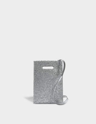 MM6 MAISON MARGIELA Minimal Crossbody Bag in Silver PVC