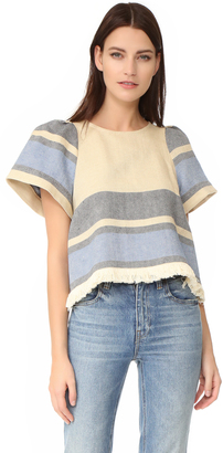 Sea Border Stripe Puff Sleeve Top $295 thestylecure.com