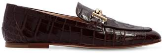 Tod's 10mm Double T Croc Embossed Loafers