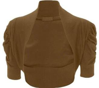 ApplesBottom New Women Plain Ruched 3/4 Puff Sleeves Bolero Shrug