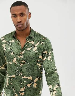 Asos DESIGN regular fit satin floral shirt in khaki