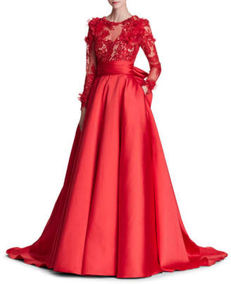 Marchesa Long-Sleeve Corded Lace Duchess Satin Evening Gown w/ 3-D Organza Petals