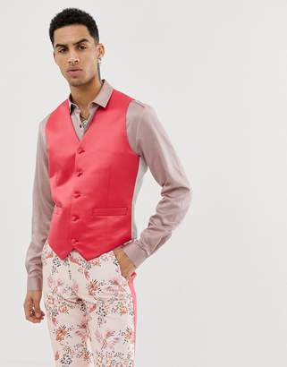 Asos Edition EDITION skinny suit waistcoat in fuchsia pink