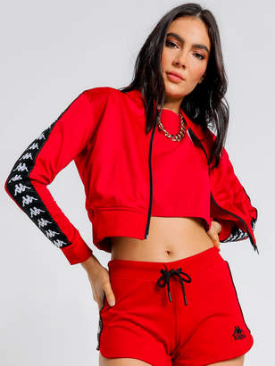 Kappa 222 Banda Asber Crop Jacket in Red Black