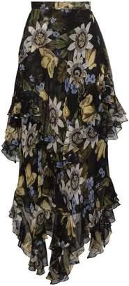 Erdem asymmetric floral print skirt