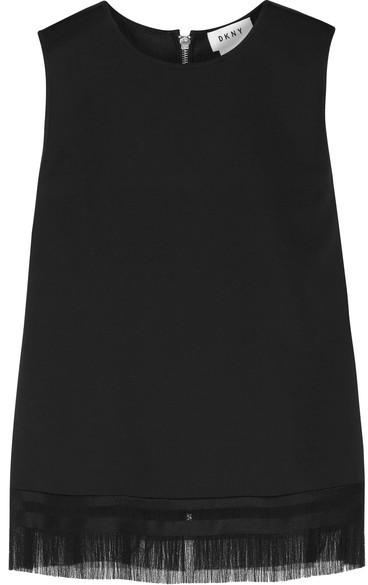 DKNY - Fringed Stretch-twill Top - Black