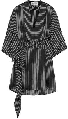 Diane von Furstenberg Belted Striped Silk-twill Blouse - Black