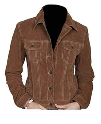Classyak Women's Fashion Stylish Suede Leather Coat Brown