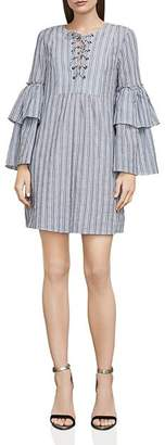 BCBGMAXAZRIA Charlyze Lace-Up Striped Dress