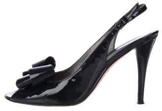 Stuart Weitzman Patent leather Peep-Toe Slingback Pumps