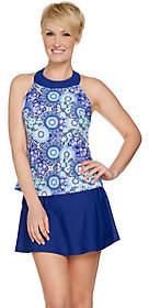 Ocean Dream Signature Floral Mosaic Hi NeckTankini & Skirt