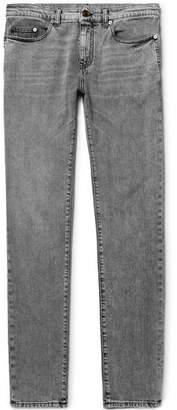 Saint Laurent Skinny-Fit 15cm Hem Acid-Washed Stretch-Denim Jeans