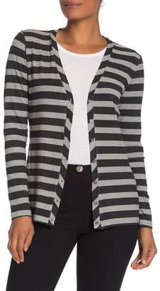 Magaschoni M BY Long Sleeve Striped Cardigan