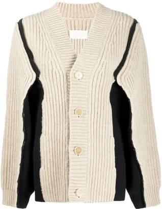 Maison Margiela panelled chunky knit cardigan