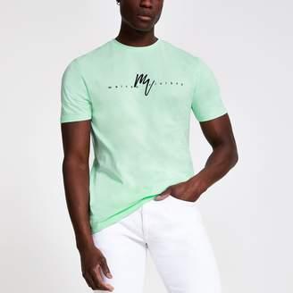 37a16987 River Island Mens Mint Green 'Maison Riviera' slim fit T-shirt