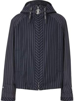 Burberry Pinstriped Wool Hooded Jacket