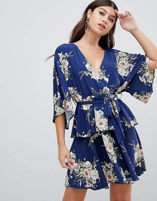 PrettyLittleThing kimono sleeve tiered wrap dress in floral