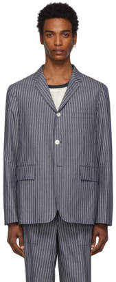 Thom Browne Navy and White Pinstriped Unconstructed Sport Blazer