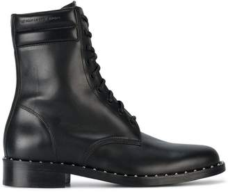 Off-White Leather Combat Studded Boots