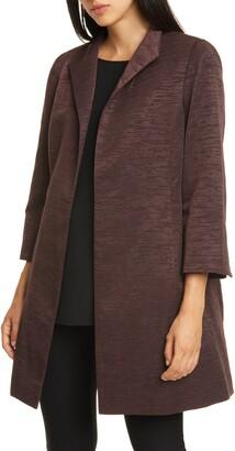 Eileen Fisher High Collar Bracelet Sleeve Cotton Blend Coat