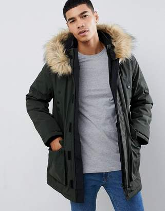 New Look traditional parka jacket in khaki