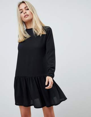 PrettyLittleThing long sleeve frill hem shift dress in black
