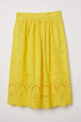 H&M Skirt with Eyelet Embroidery - Yellow