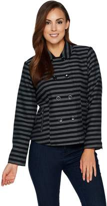 Isaac Mizrahi Live! Striped Double Breasted Jacket