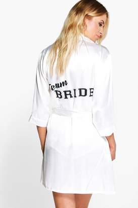 boohoo Team Bride Satin Kimono Robe