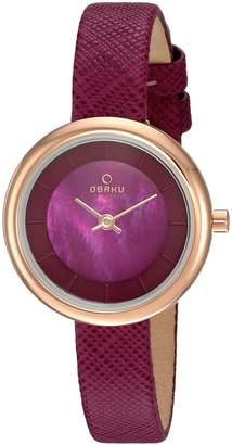 Obaku Women's Quartz Stainless Steel and Leather Dress Watch, Color: (Model: V146LXVQRD)