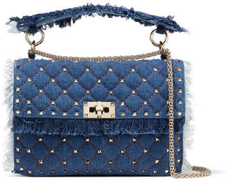 Valentino Garavani The Rockstud Spike Medium Quilted Denim Shoulder Bag - Blue