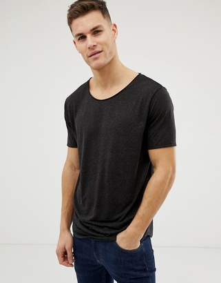 Asos DESIGN relaxed longline t-shirt with raw scoop neck and curve hem in linen mix in black