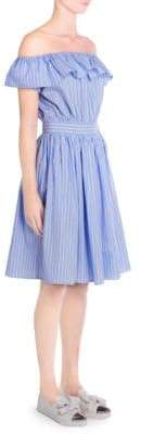 Miu Miu Poplin Stripe Off-the-Shoulder A-Line Dress
