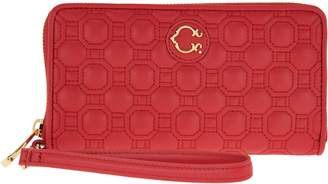 C. Wonder Nappa Leather Geo Quilted Zip Wristlet Wallet